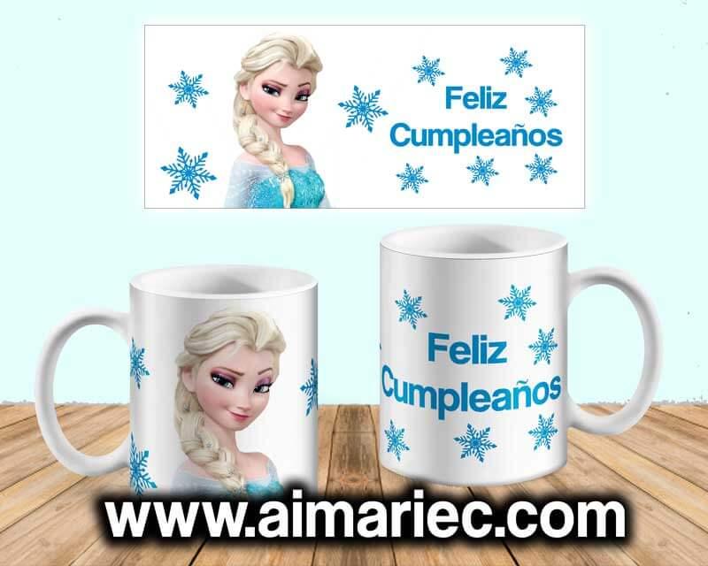Plantilla para taza Frozen Cumpleaños