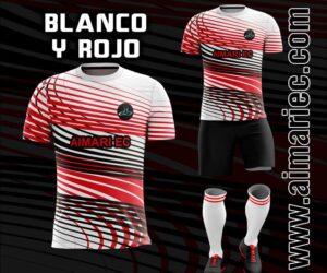 uniforme de futbol sublimado color rojo y blanco