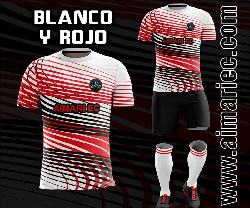 uniforme de futbol sublimado color rojo y blanco