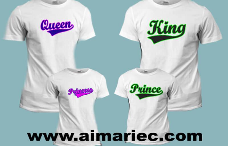 Camisetas King Queen Princess y Prince