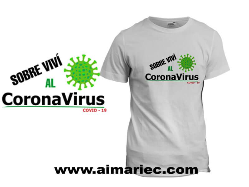 Camiseta Personalizada Sobreviví al CoronaVirus Covid-19