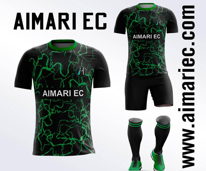 Uniforme de fútbol negro con verde 2020 subimado
