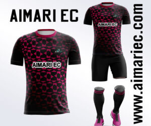 Uniforme de futbol sublimado color negro y fucsia