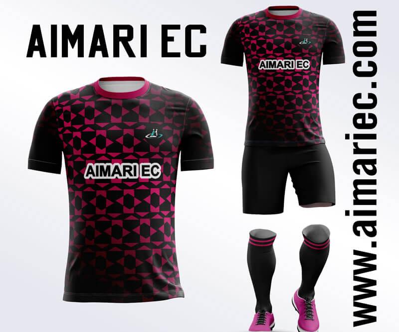 Uniforme de futbol sublimado color negro y fucsia