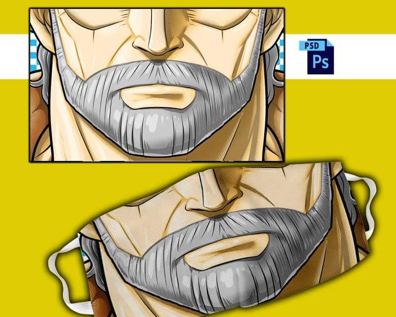 plantillas para sublimar tapabocas barba