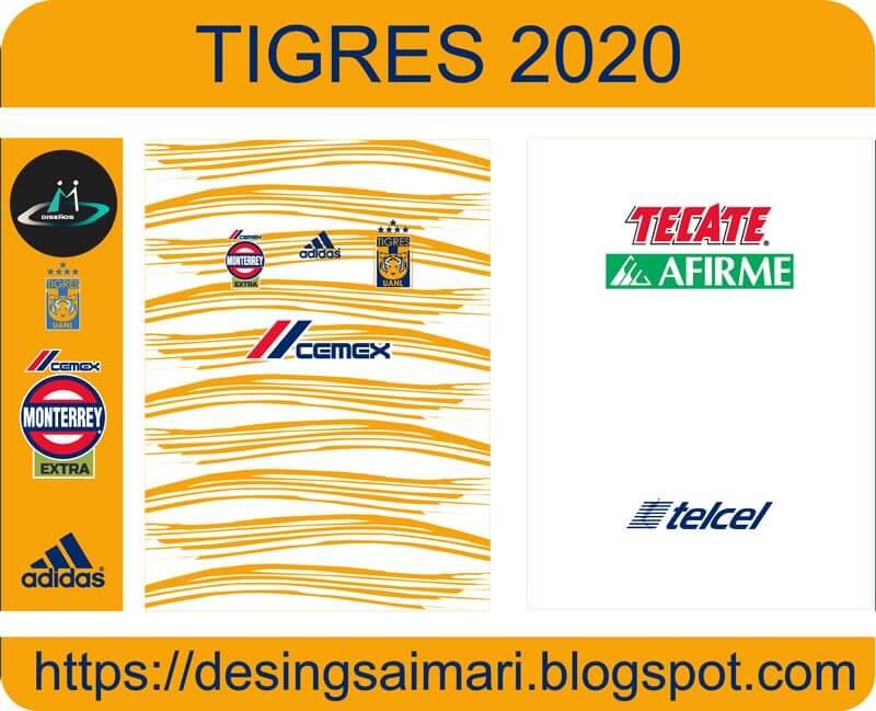 vector camiseta tigres uanl 2020 2021