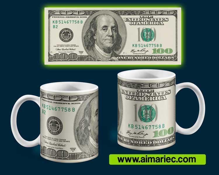 plantilla de taza con billete de 100 dólares