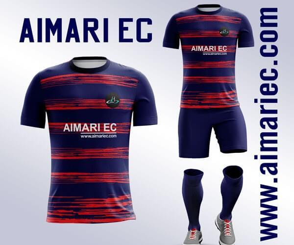uniforme de fútbol color azul y rojo
