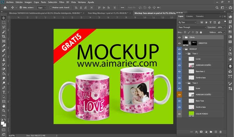 mockup para photoshop de tazas descargar gratis
