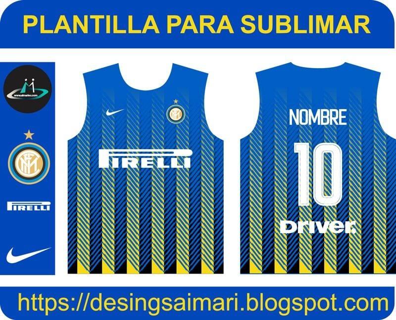 Descarga plantilla GRATIS para sublimar camiseta del Inter de Milán 2020 -2021