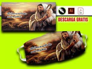 plantilla para sublimar tapabocas religiosos jesus es mi pastor