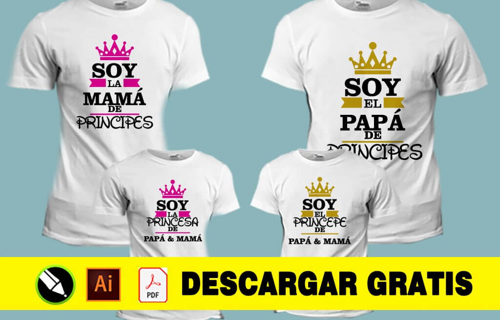 camisetas sublimadas personalizadas para familia papá mamá princesa principe