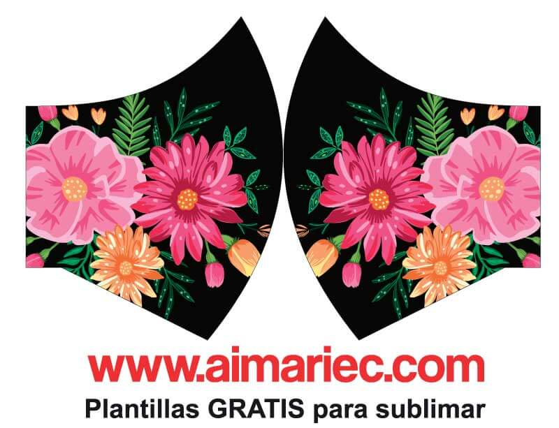 Plantillas para sublimar MASCARILLAS con flores | PDF | photoshop | corelDraw | illustrador flores