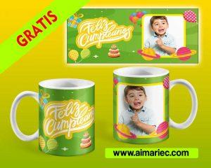 Diseño taza con fotos para cumpleaños descargar gratis