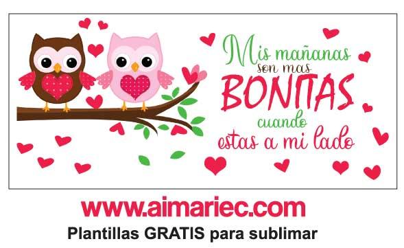 Plantilla Taza para enamorados con frases