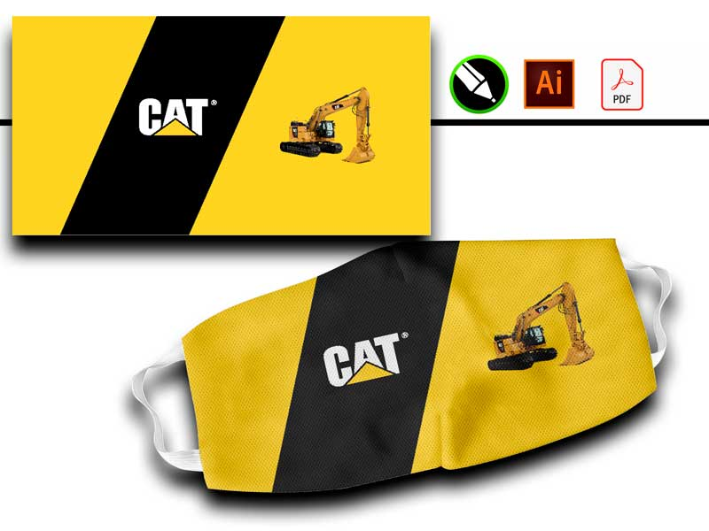 vector para sublimar tapabocas caterpillar retroexcavadora, maquinaria pesada