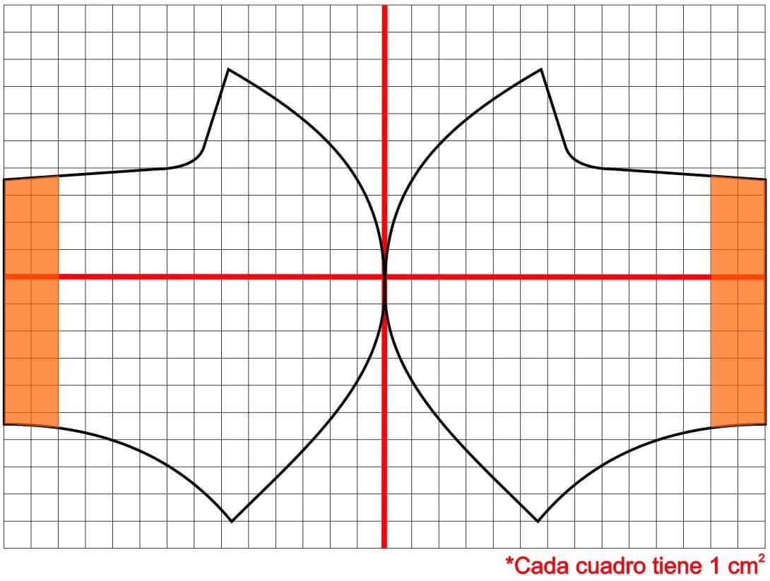 free Molde patrón dos piezas modelo 6 para mascarilla, tapabocas, barbijos