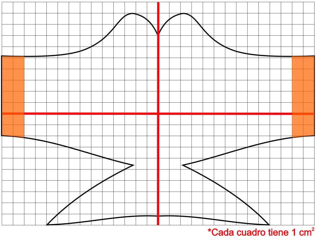 free Molde patrón modelo 3 para mascarilla, tapabocas, barbijos