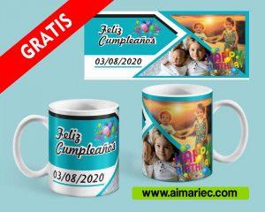 plantilla para personalizar taza para cumpleaños con fotos