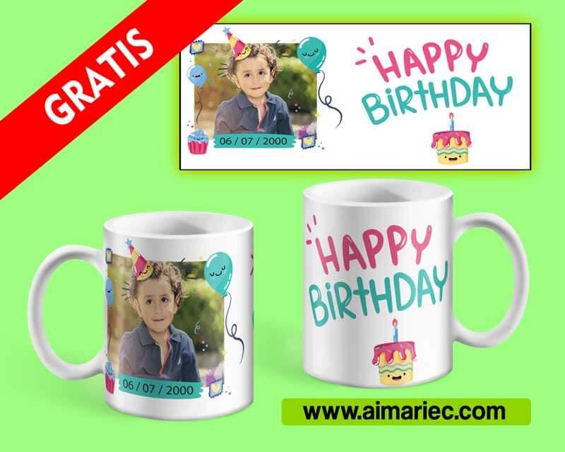 plantilla para sublimar taza para cumpleaños de niño