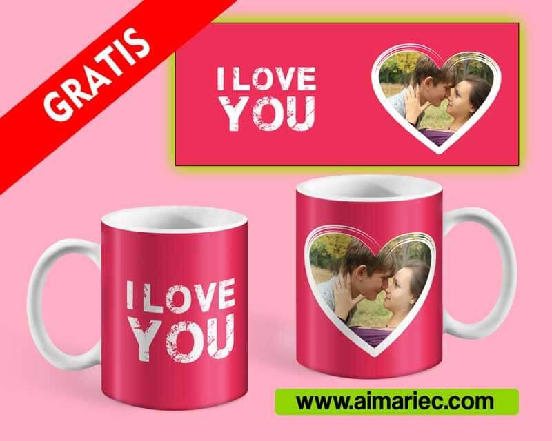 I love you | Plantilla para sublimar taza gratis