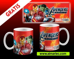 Avengers plantillas para tazas End Game