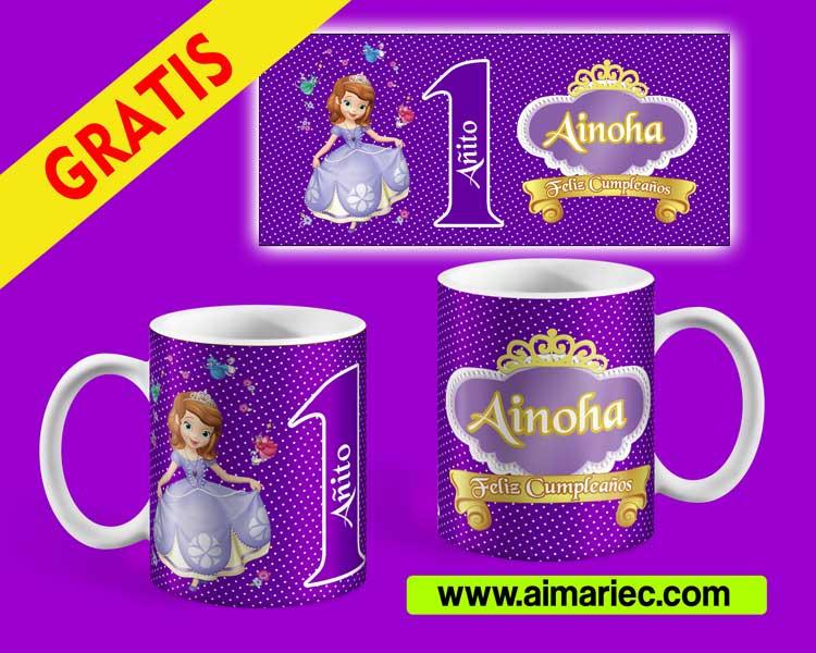 plantilla para sublimar taza de princesa sofía para cumpleaños