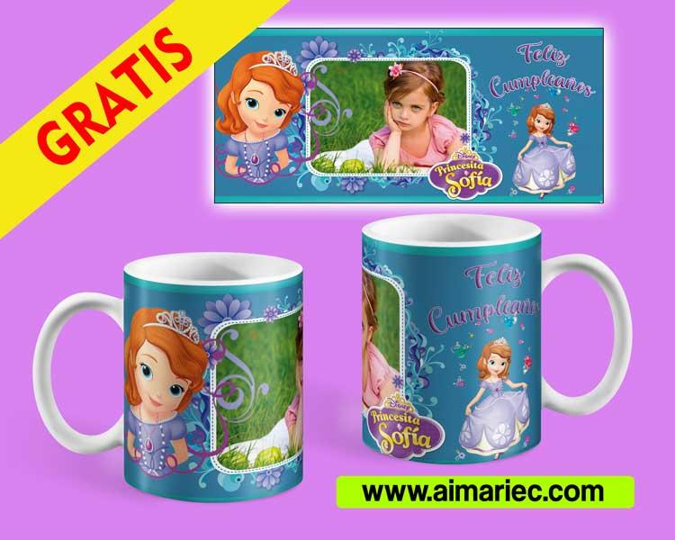 plantilla de taza princesa sofía para cumpleaños