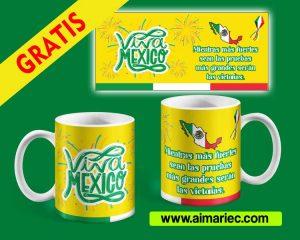 plantilla taza fiestas independencia de Mexico