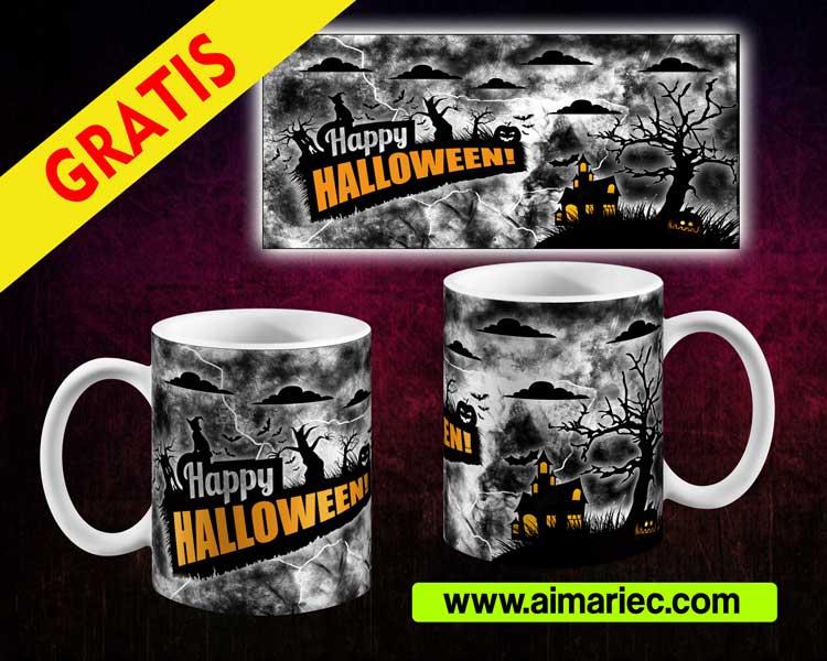 Happy halloween, plantilla para taza del día de los muertos
