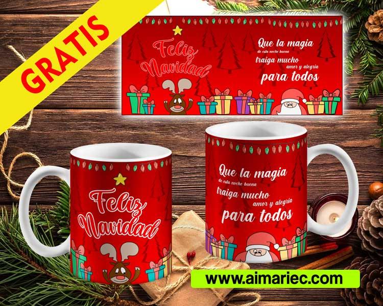 Tazas para navidad, plantilla gratis