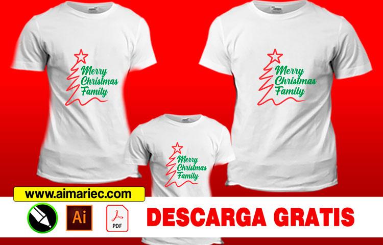 Camisetas personalizadas de navidad para familia (papá, mamá e hijos).
