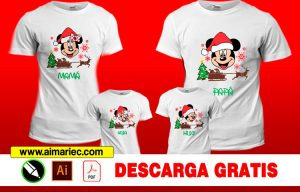 Plantilla para sublimar camisetas navideñas Mickey Mouse Familia, CAMISETAS PERSONALIZADAS