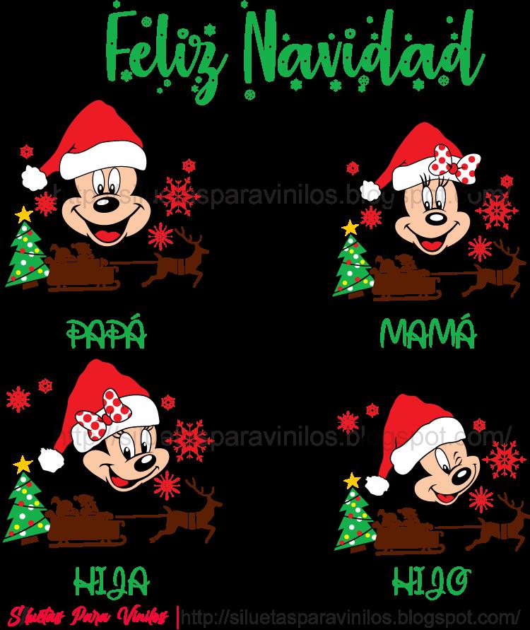 Plantilla para sublimar camisetas navideñas Mickey Mouse Familia