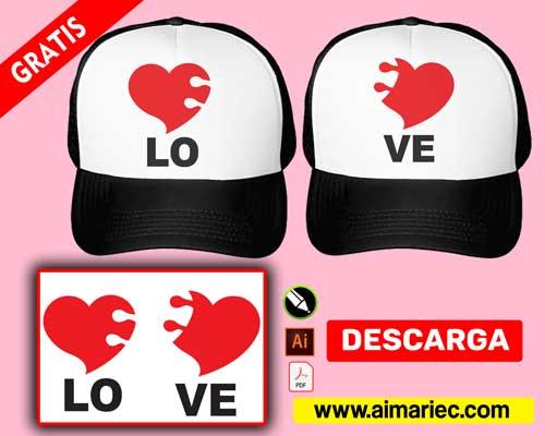gorra para enamorados corazón rompecabezas love