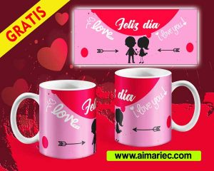 Plantilla para taza feliz día amor(San Valentín)
