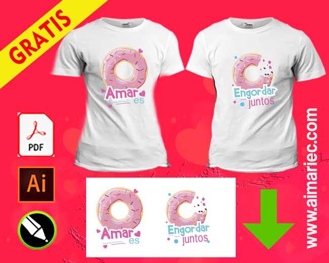 Camisetas para parejas amar es engordar juntos