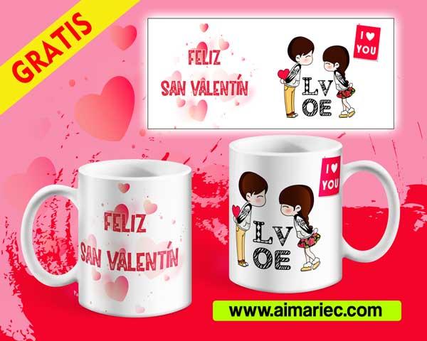 plantilla gratis para tazas personalizadas san Valentín