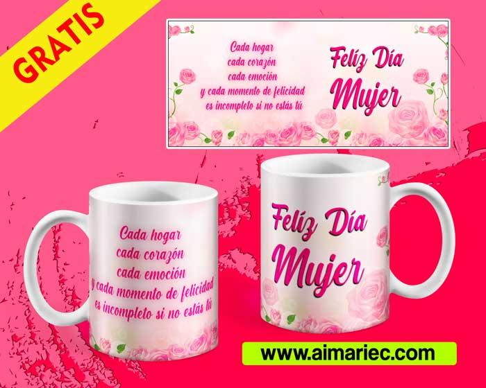 Plantilla taza feliz día mujer diseño floral