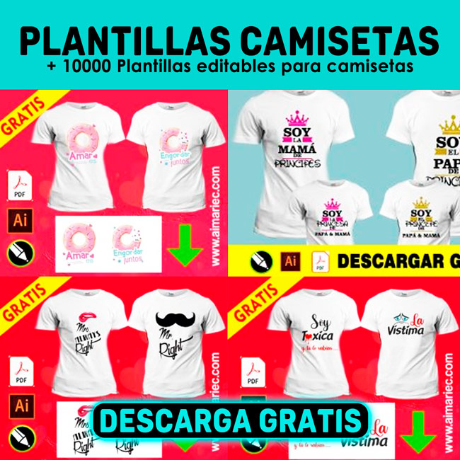 Plantillas para sublimar camisetas descargar gratis