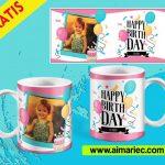Plantilla para taza de cumpleaños para niña