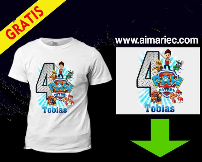 Camiseta Cumpleaños Patrulla Canina plantilla gratis