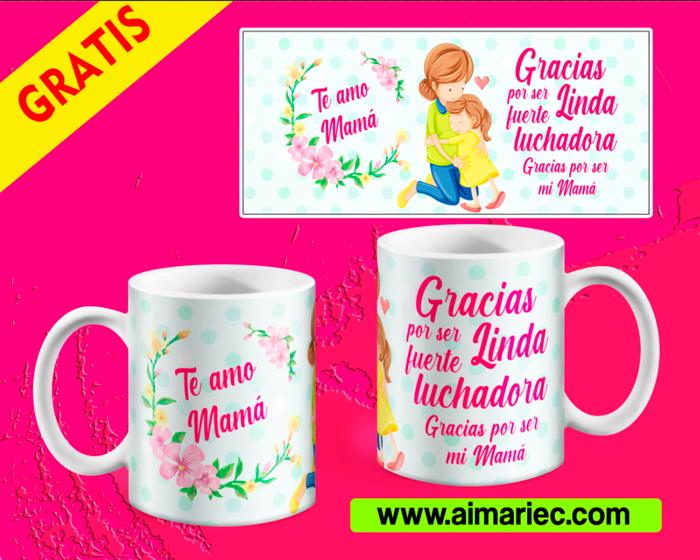 Plantilla para taza te amo mamá (día de las madres)