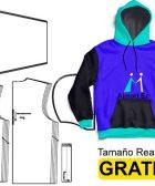 Patrón molde hoodie con capucha y bolsillo