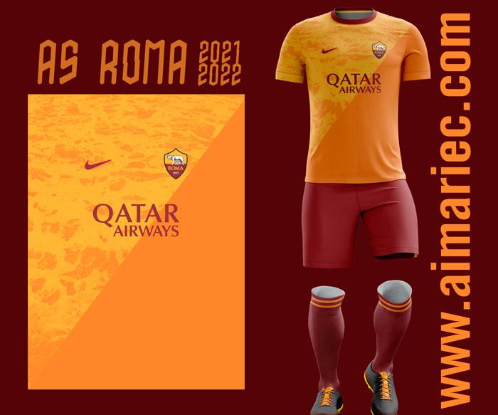 Uniforme As Roma 2021-22 home concept